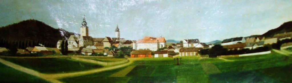 Veduta města na obraze sv  Floriána ve Vlastivědnému muzeu v Šumperku   Anton Gersch, 1  třetina 19 , obrázek se otevře v novém okně
