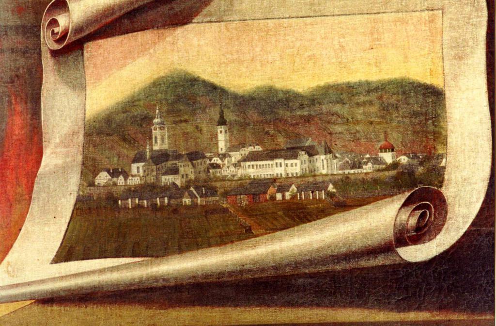 Veduta města na obrazu sv  Floriána v kostele sv  Jana Křtitele   Anton Gersch, 1  třetina 19  stol, obrázek se otevře v novém okně